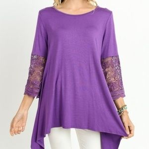 NWT JODIFL PURPLE CROCHET SLEEVE UNEVEN HEM TOP